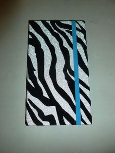SILVER & BLACK GLITTER VELVET ZEBRA TRI-FOLD DECORATIVE NOTE PAD SET #journal