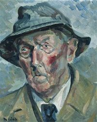 Portrait of a man in a hat, Ronald Ossory Dunlop