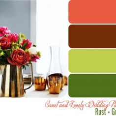 Rust, rose, green, and cream :)