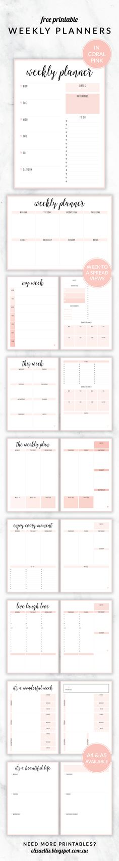 Free Printable Irma Weekly Planners in Blush by Eliza Ellis. With nine different styles, they're the perfect organizing solution Available in 6 colors and both and sizes. Includes week to a page planners as well as week to a spread and two page planners.