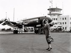 This 1951 photo shows the airline's very first flight-attendant uniform. From 1949 to 1957, uniforms generally came in gray or bluish-gray,…