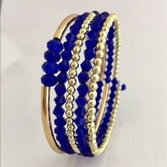 Jewelry - Handmade Blue and Gold Memory Wire Bracelet