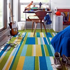 """""""Seeing Stripes by FLOR on HomePortfolio"""" Color palette if we decide to put carpet tiles in the playroom."""