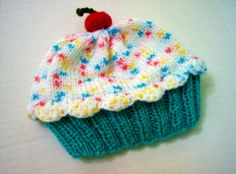 Handmade hand knit Cupcake Hat with Cherry on Top by StellasKnits
