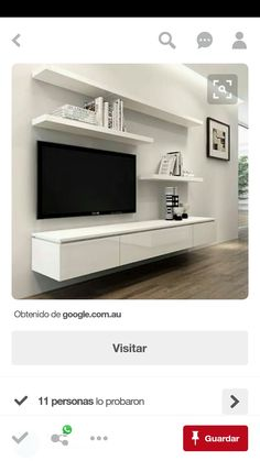 Tv wall decor, living room tv и floating entertainment unit. Tv Unit Design, Tv Wall Design, Design Room, Shelf Design, Floating Entertainment Unit, Entertainment Centers, Floating Wall Unit, Floating Tv Cabinet, Floating Tv Stand Ikea