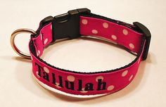Dog Collar Embroidered Hot Pink Polka Dots by TheMonogrammedMutt, $23.00