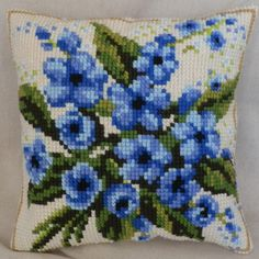 "Cross-stitch counted cushion ""Forget me not"" Cross Stitch Cushion, Cross Stitch Fabric, Cross Stitch Art, Counted Cross Stitch Kits, Cross Stitch Flowers, Cross Stitch Designs, Cross Stitching, Cross Stitch Embroidery, Embroidery Patterns"