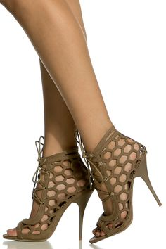 5ce8989c1e68 Taupe Faux Suede Cut Out Lace Up Single Sole Heels   Cicihot Heel Shoes  online store sales Stiletto Heel Shoes