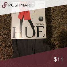 """Tights Brand New by HUE Grayish Ribbed control top tights- size is for : ht 4'11"""" to 5'6"""" -100lbs to 150lbs HUE Accessories Hosiery & Socks"""