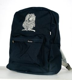Owl on American Apparel Backpack Navy/Silver by miasunique on Etsy, $40.00