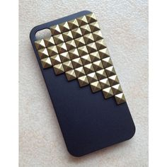 Antique Bronze pyramid stud black iPhone 4/4S case--N1 ($15) ❤ liked on Polyvore