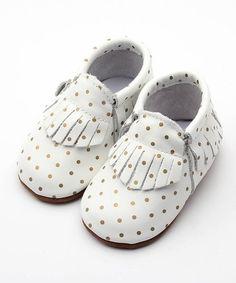 White and gold moccasins, polka dot moccasins, gold polka dot shoes, baby shoes, baby moccasins, infant shoes, infant moccasins, Expressive Boutique, skid proof moccasins, fringe moccasins.