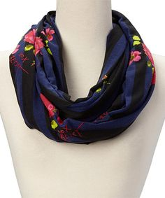 Look what I found on #zulily! Navy Stripe & Rose Infinity Scarf by Betsey Johnson #zulilyfinds