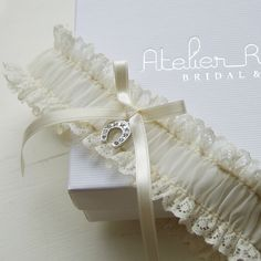 Lucky horseshoe lace wedding garter - to fulfill the Irish tradition of the bride wearing a horseshoe to bring luck to the marriage.