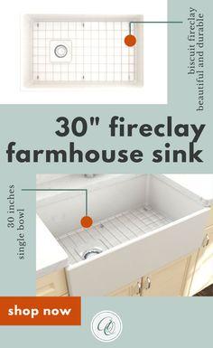 Vigneto 33 White Fireclay Single Bowl Farmhouse Kitchen Sink by Bocchi Fireclay Farmhouse Sink, Fireclay Sink, Farmhouse Style Kitchen, White Farmhouse, Farmhouse Kitchens, Country Kitchen, Modern Farmhouse, Vintage Farmhouse