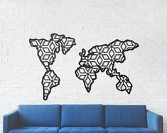 Etsy :: Your place to buy and sell all things handmade World Map Wall Decor, Metal Signs, Etsy Seller, Monogram, Buy And Sell, Wall Art, Interior Design, Creative, Handmade