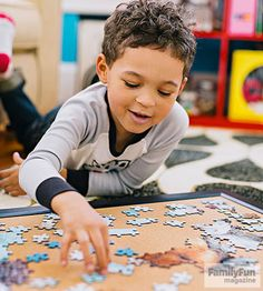 How can you prevent jigsaws in progress from eating up valuable tabletop real estate? Simple answer: assemble puzzles on a corkboard.