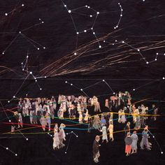 Get a bunch of friends together and make a tangled web of constellations in the room together over hot cocoa and various james bond games with laser yarn :D - Constellations by Brandi Strickland, 2010 Mixed Media Collage, Collage Art, Illustrations, Illustration Art, Collages, Cosmos, My Sun And Stars, Photocollage, Expo