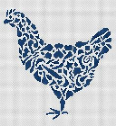 Tribal Hen Monochrome Cross Stitch Chart - White Willow Stitching Cross Stitch - (Powered by CubeCart)