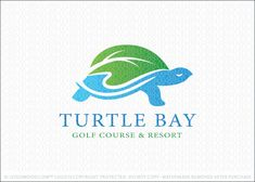 Logo for sale: Simple stylized design of a turtle. The top portion of the shell is designed to look like land or a curving leaf with the bottom portion representing a body of water, such as a lake or ocean.