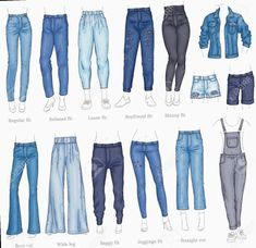 Vector denim female pants, shorts and jacket sketch icon set. Casual fashion tro… Vector denim female pants, shorts and jacket sketch icon set. Casual fashion tro…,Mappe Design Vector denim female pants, shorts and jacket. Teen Fashion Outfits, Mode Outfits, Fashion Fashion, Denim Fashion, Fashion Vector, Tall Girl Outfits, Fashion Shoes, Teen Girl Fashion, Fandom Fashion