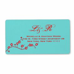 Red & Turquoise Floral Wedding Invitation Stamps