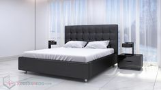 Delano Bed Black -  Contemporary bed in midnight black.  Sale 50% lower than retail price.  Contemporary Furniture Affordable Priced.