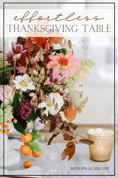 Simple Thanksgiving Table. Beautiful florals and a simple place setting are all that is needed to have an intimate holiday dinner with friends and family. #thanksgivingtable #thanksgiving #minimalist #farmhousetable