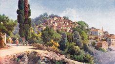 Village of Pelekas. by Angelos Giallinas. Greek Paintings, Corfu Town, 10 Picture, Greek Art, Athens Greece, Gustav Klimt, Greek Islands, Watercolours, Naples