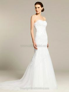 Trumpet/Mermaid Sweetheart Tulle Sweep Train Embroidery Wedding Dresses