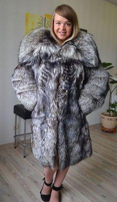 8d463bb94f3785 SILVER FOX FUR COAT GREAT COLLAR long jacket woman no saga mink size M-XL