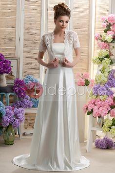 コラムストラップレスちょう結びベルト付きサテンウェディングドレス