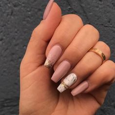 """If you're unfamiliar with nail trends and you hear the words """"coffin nails,"""" what comes to mind? It's not nails with coffins drawn on them. It's long nails with a square tip, and the look has. Aycrlic Nails, Pink Nails, Cute Nails, Pretty Nails, Glitter Nails, New Year's Nails, Fall Nails, Summer Acrylic Nails, Best Acrylic Nails"""
