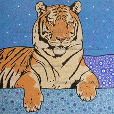 """Bengal Tiger"" , Handpainted Dot Art Painting . Acrylic on Linnen. More info about me & my art at manon-elmendorp.nl"
