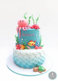 Under the Sea Cake #underwater #underwatercake #sea #ombrecake This would be so cute for an under the sea themed birthday party or baby shower