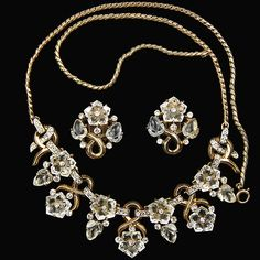 Trifari 'Alfred Philippe' 'Dewdrops' Moonstone Fruit Salads and Flowers Necklace and Clip Earrings Set