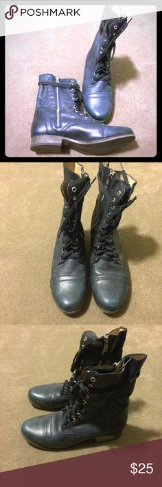Steve Madden navy blue combat boots Make an offer! Leather upper and lining. No trades. Bundle and save! Steve Madden Shoes Combat & Moto Boots