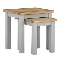 Buy Linden Grey Nest of Tables with Two Tone Oak Top - 2 from - the UK's leading online furniture and bed store Light Oak, Small Tables, Board Ideas, Online Furniture, Nest, Lounge, Farmhouse, Mood, Living Room