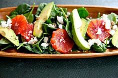Love the blend of creamy and tangy at work here: Spinach, Feta Cheese, and Blood Orange Salad.