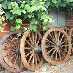Old Teak Wagon Wheels from Myanmar. Support ethical and sustainable trade. Rustic Furniture, Vintage Furniture, Wagon Wheels, Northern Thailand, Indoor Outdoor Living, Interior And Exterior, Teak, Sustainability, Landscaping