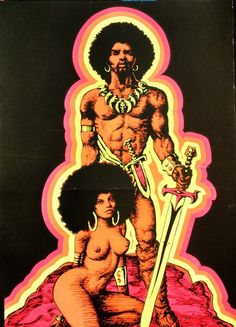 African Man and Woman Afro Sword Warrior Psychedelic Art Blacklight Poster Queen Art, King Art, Psychedelic Art, Black King And Queen, King Queen, Savage Worlds, Black Light Posters, Kunst Poster, Sword And Sorcery