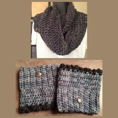 Infinity Scarf & boot cuff gift set GORGEOUS and YES! HAND MADE✨gift set includes a soft acrylic scarf w/reversible (either end) boot cuffs. Can be worn either way & I guarantee compliments! Ceilgah Celtic button accent, or crochet scallop lace. High quality USA yarn,VERY warm. Brand new & GIFT ready with freshly spun love, (kink in neck from designing NOT included!) NOTE; this is a suggested collection for BLUE/GREY/GREEN eyes (Although gorgeous on any color of course) ASK ME about other…