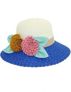 0336224d327 Dahlia Women s Summer Sun Hat - Double Flower Braid Brim Straw Bucket Hat  Sun Hats For