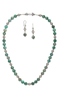 Single-Strand Necklace and Earring Set with Crazy Lace Agate Gemstone Beads, Swarovski Crystal Pearls and Sterling Silver Beads