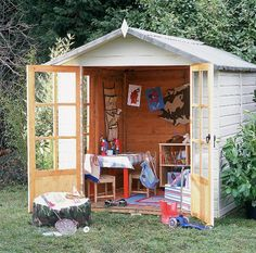 Making an outdoor playroom out of a shed.