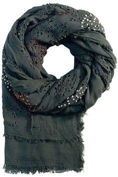 Grå/Lavendel UNMADE tørklæde med broderi