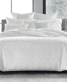 Hotel Collection Olympia KING Comforter + 2 KING Shams Set OFF WHITE #HotelCollection #Contemporary King Comforter, Queen Duvet, Comforter Sets, Glam Bedding, Grey And White Bedding, Hotel Collection Bedding, Hotel Bed, Bedroom Sets, Master Bedroom