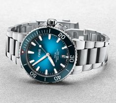 Oris Watch Aquis Clean Ocean Limited Edition Pre-Order 01 733 7732 4185-Set Watch Sport Chic, Luxury Watches, Rolex Watches, Gents Watches, Stainless Steel Bracelet, Stainless Steel Case, Lacoste, Plastic Problems, Ocean Projects
