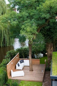 outdoors, patio, I would add built in seating to this, landscape architecture, deck around a tree, build around a tree