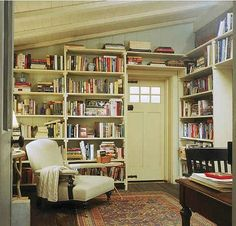The Holiday movie cottage library room- love the books all around the door